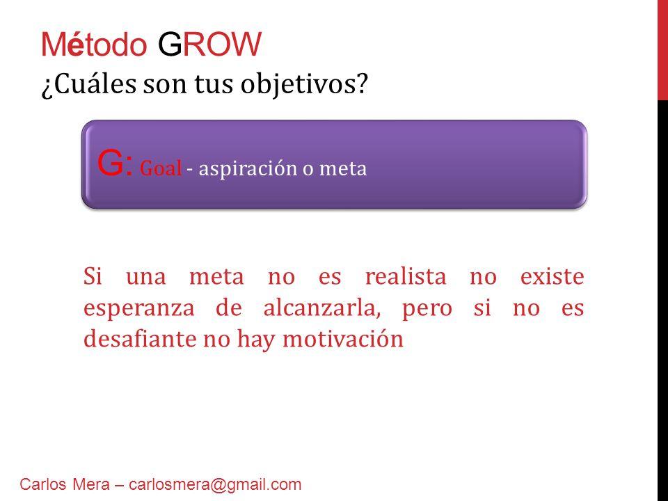 Método GROW G: Goal - aspiración o meta ¿Cuáles son tus objetivos? Carlos Mera – carlosmera@gmail.com Si una meta no es realista no existe esperanza d