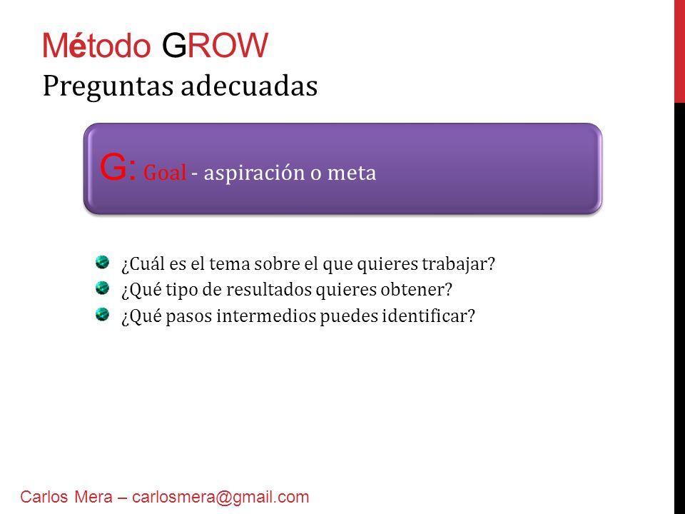 Método GROW G: Goal - aspiración o meta Preguntas adecuadas ¿Cuál es el tema sobre el que quieres trabajar? ¿Qué tipo de resultados quieres obtener? ¿