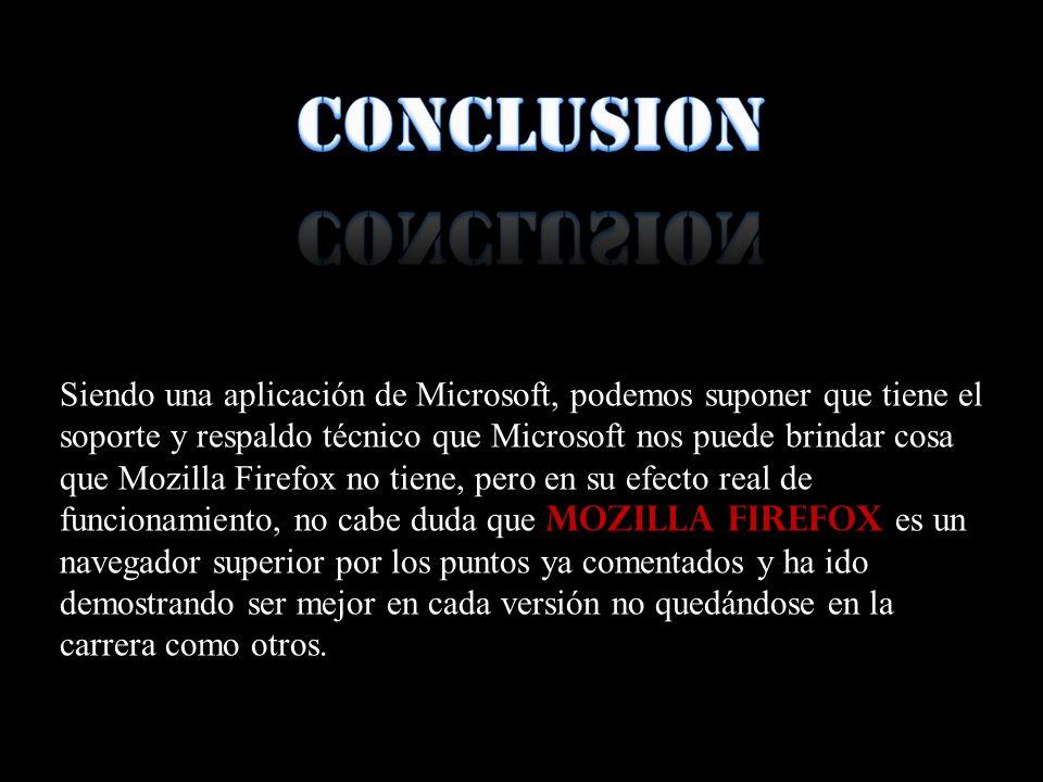 Siendo una aplicación de Microsoft, podemos suponer que tiene el soporte y respaldo técnico que Microsoft nos puede brindar cosa que Mozilla Firefox n