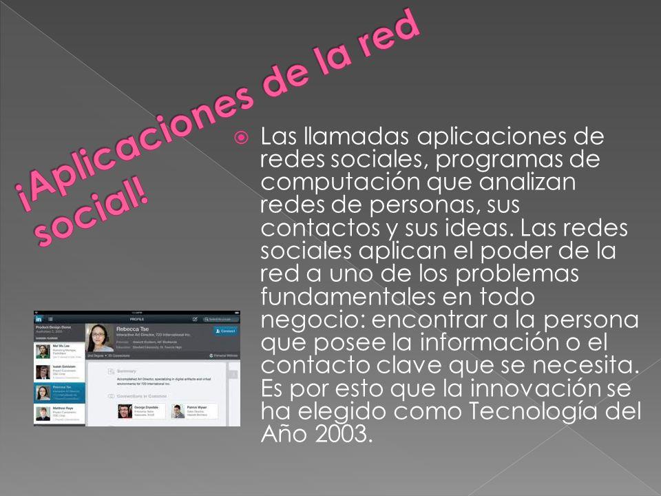 Las llamadas aplicaciones de redes sociales, programas de computación que analizan redes de personas, sus contactos y sus ideas.