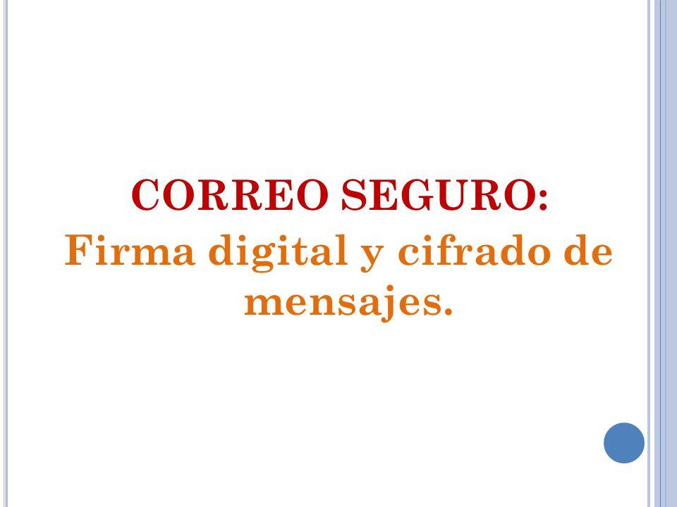 CORREO SEGURO: Firma digital y cifrado de mensajes.