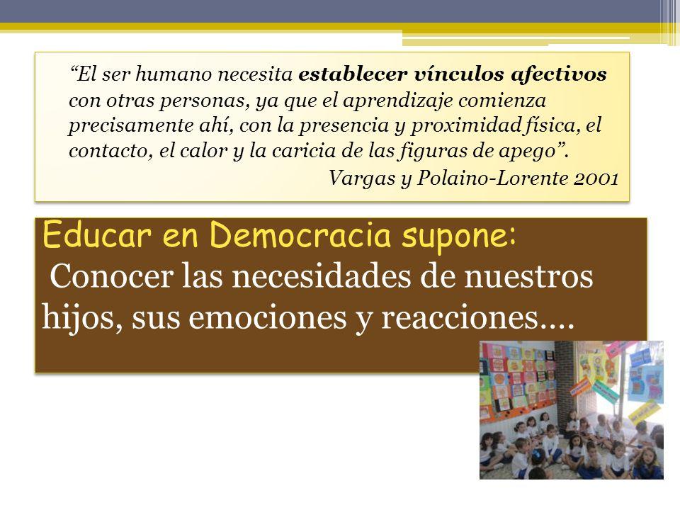 Educar en Democracia supone: Conocer las necesidades de nuestros hijos, sus emociones y reacciones…. El ser humano necesita establecer vínculos afecti