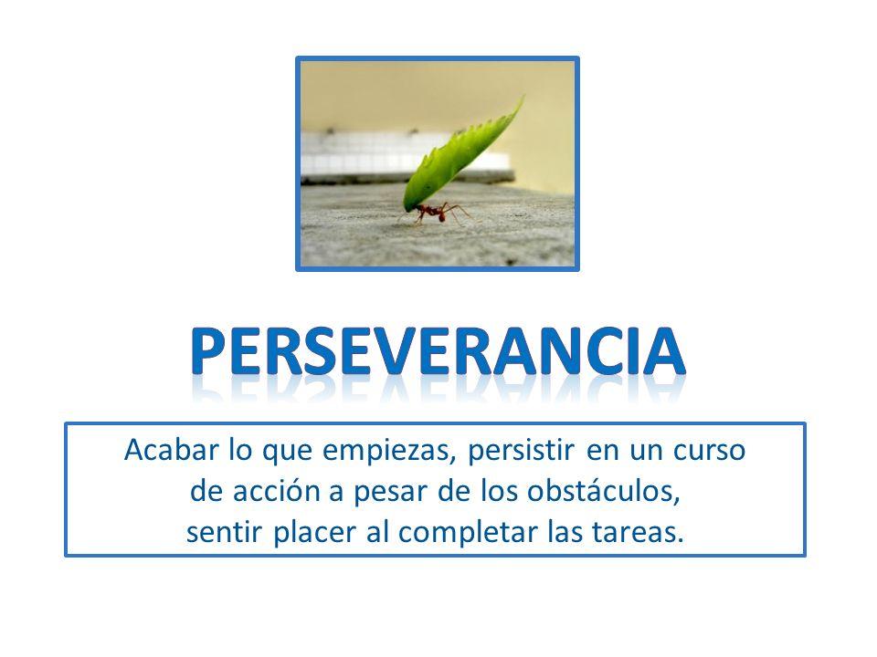 Acabar lo que empiezas, persistir en un curso de acción a pesar de los obstáculos, sentir placer al completar las tareas.