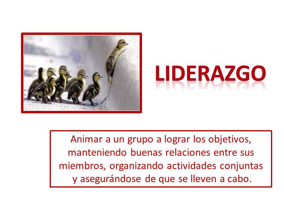 Animar a un grupo a lograr los objetivos, manteniendo buenas relaciones entre sus miembros, organizando actividades conjuntas y asegurándose de que se