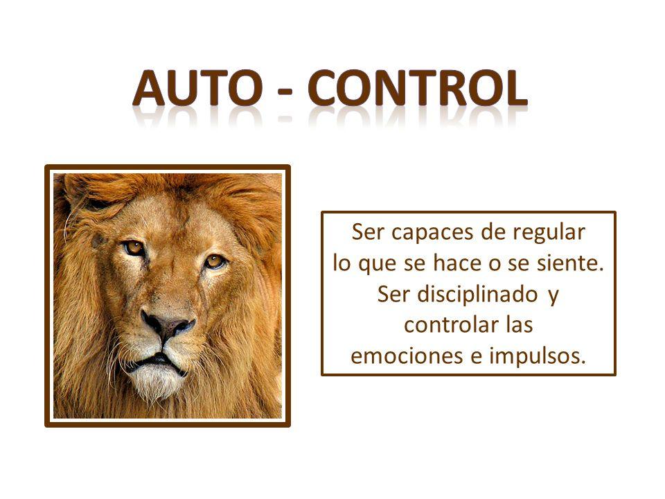 Ser capaces de regular lo que se hace o se siente. Ser disciplinado y controlar las emociones e impulsos.