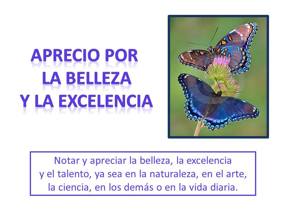 Notar y apreciar la belleza, la excelencia y el talento, ya sea en la naturaleza, en el arte, la ciencia, en los demás o en la vida diaria.
