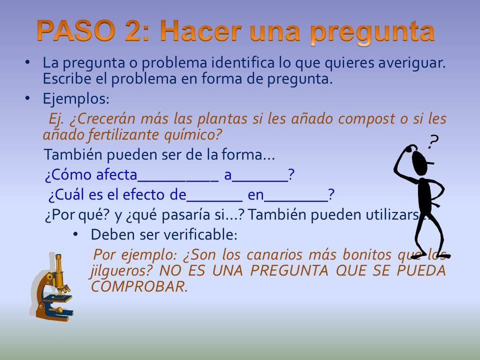 La pregunta o problema identifica lo que quieres averiguar. Escribe el problema en forma de pregunta. Ejemplos: Ej. ¿Crecerán más las plantas si les a