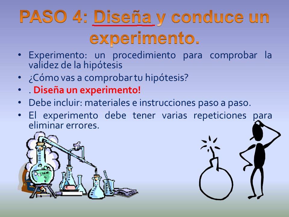 Experimento: un procedimiento para comprobar la validez de la hipótesis ¿Cómo vas a comprobar tu hipótesis?. Diseña un experimento! Debe incluir: mate