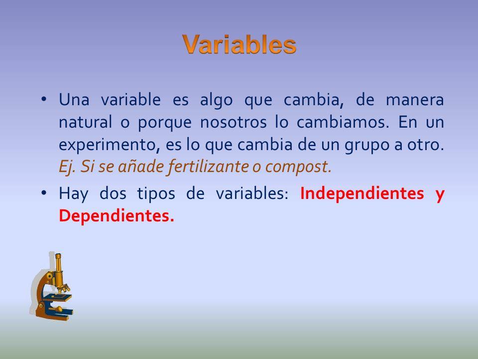 Una variable es algo que cambia, de manera natural o porque nosotros lo cambiamos. En un experimento, es lo que cambia de un grupo a otro. Ej. Si se a