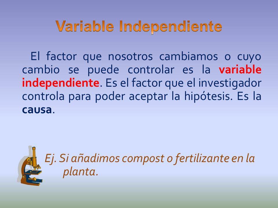 El factor que nosotros cambiamos o cuyo cambio se puede controlar es la variable independiente. Es el factor que el investigador controla para poder a