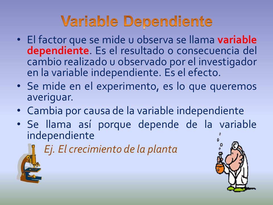 El factor que se mide u observa se llama variable dependiente. Es el resultado o consecuencia del cambio realizado u observado por el investigador en