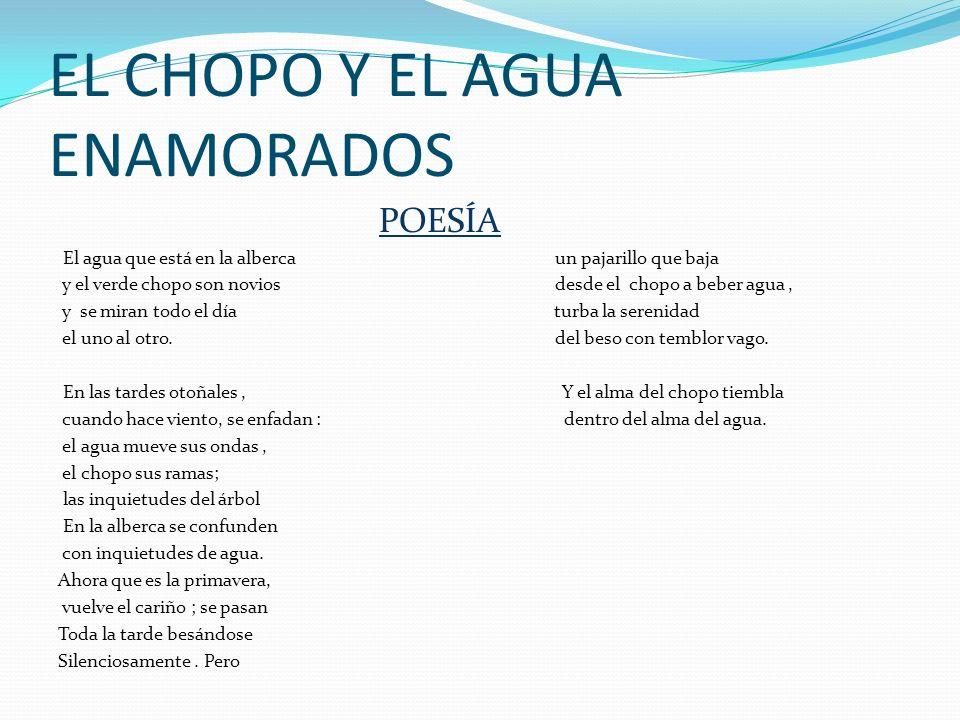 EL CHOPO Y EL AGUA ENAMORADOS POESÍA El agua que está en la alberca un pajarillo que baja y el verde chopo son novios desde el chopo a beber agua, y s
