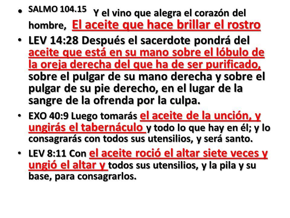 SALMO 104.15 Y el vino que alegra el corazón del hombre, El aceite que hace brillar el rostro SALMO 104.15 Y el vino que alegra el corazón del hombre,