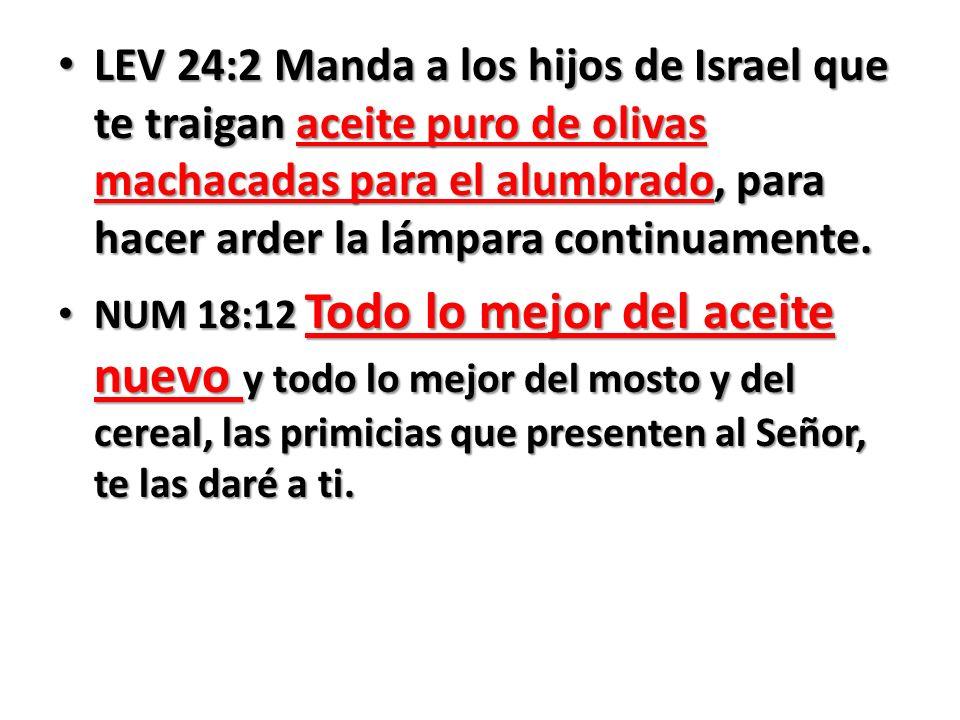 LEV 24:2 Manda a los hijos de Israel que te traigan aceite puro de olivas machacadas para el alumbrado, para hacer arder la lámpara continuamente. LEV