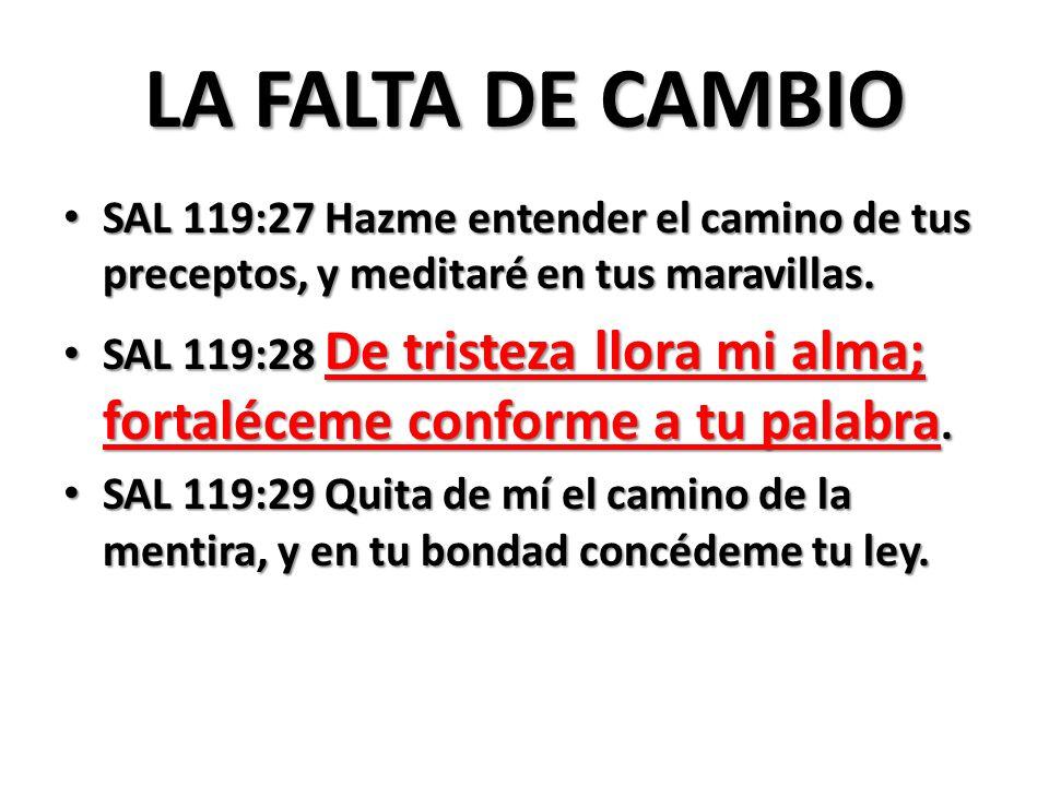 LA FALTA DE CAMBIO SAL 119:27 Hazme entender el camino de tus preceptos, y meditaré en tus maravillas. SAL 119:27 Hazme entender el camino de tus prec