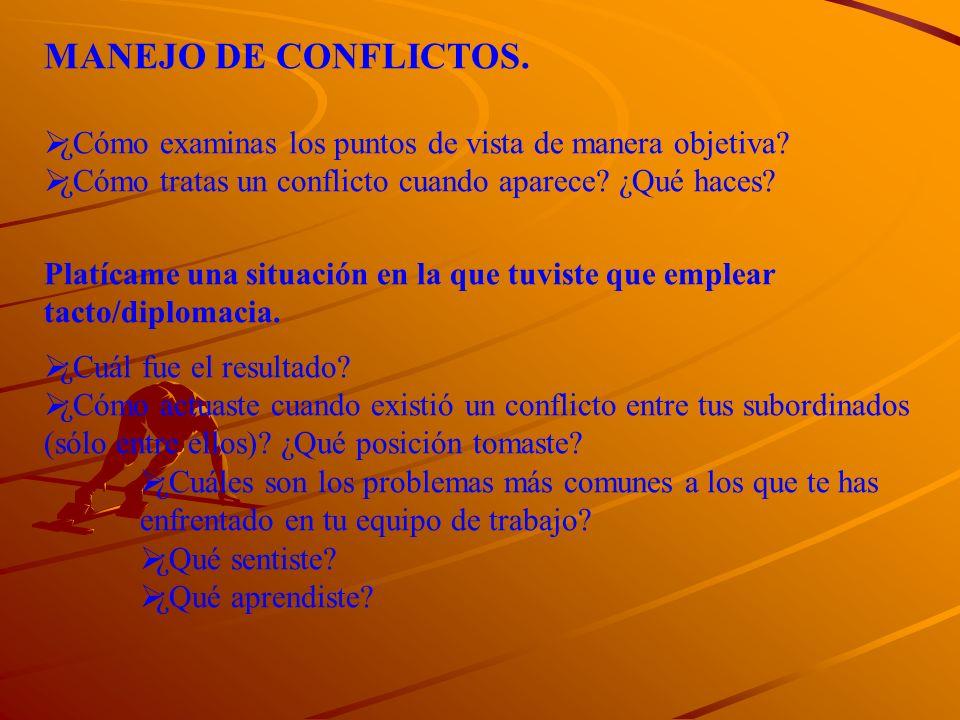 MANEJO DE CONFLICTOS. ¿Cómo examinas los puntos de vista de manera objetiva? ¿Cómo tratas un conflicto cuando aparece? ¿Qué haces? Platícame una situa