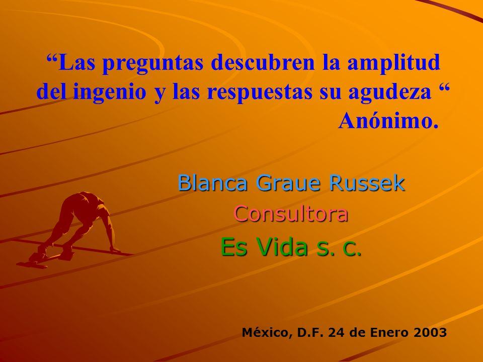 Blanca Graue Russek Consultora Es Vida S. C. Las preguntas descubren la amplitud del ingenio y las respuestas su agudeza Anónimo. México, D.F. 24 de E