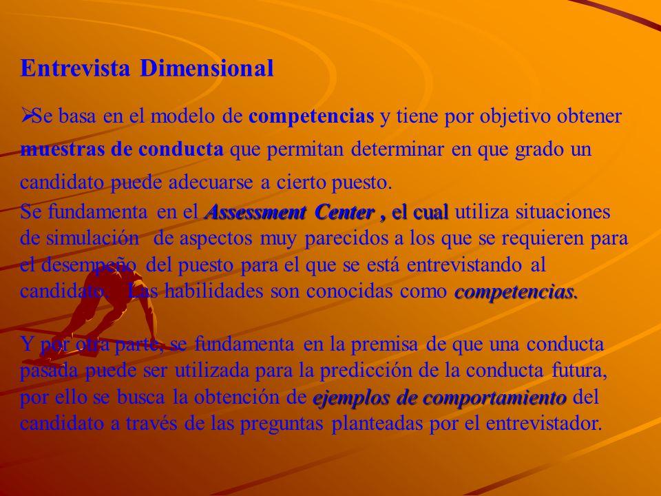 La entrevista dimensional obtiene muestras de conducta similares aquellas requeridas para el éxito de un puesto, para el cual un individuo esta siendo considerado.