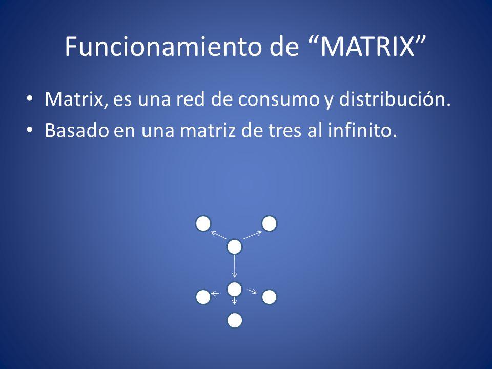 Funcionamiento de MATRIX Matrix, es una red de consumo y distribución. Basado en una matriz de tres al infinito.