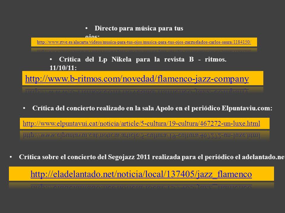 Directo para música para tus ojos: Crítica del Lp Nikela para la revista B - ritmos. 11/10/11: Crítica del concierto realizado en la sala Apolo en el