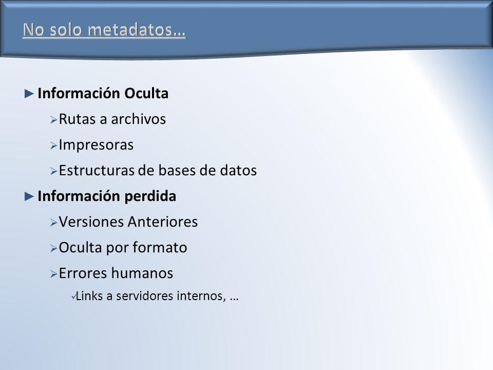Información Oculta Rutas a archivos Impresoras Estructuras de bases de datos Información perdida Versiones Anteriores Oculta por formato Errores humanos Links a servidores internos, …