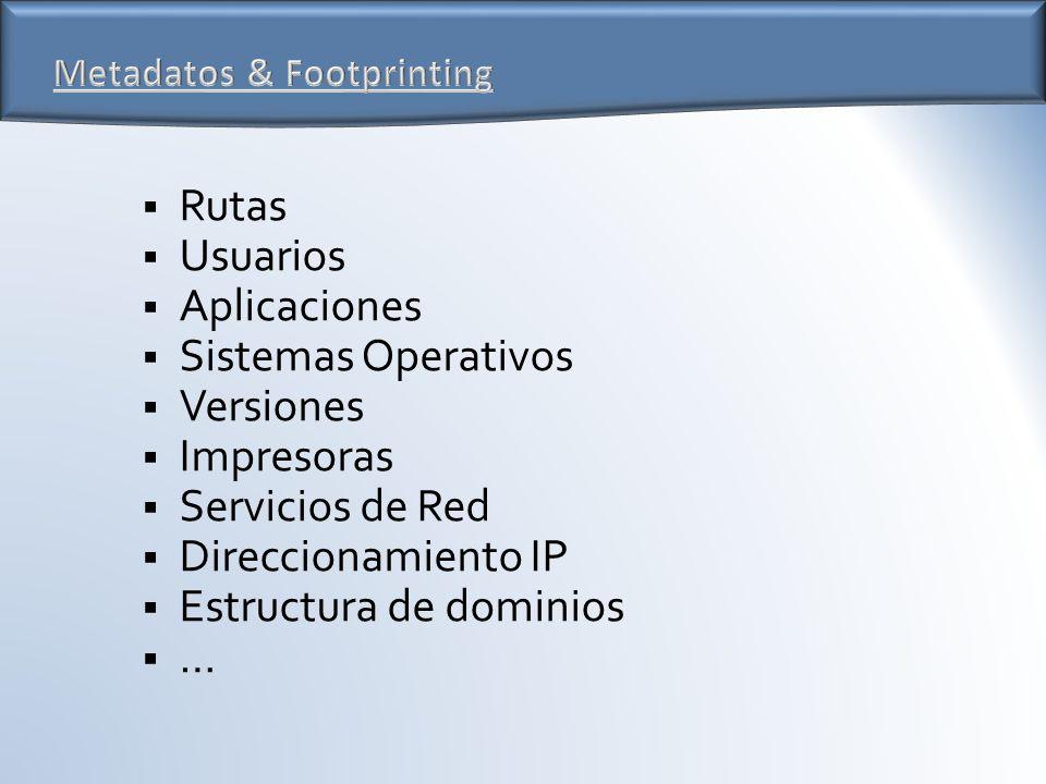 Rutas Usuarios Aplicaciones Sistemas Operativos Versiones Impresoras Servicios de Red Direccionamiento IP Estructura de dominios …