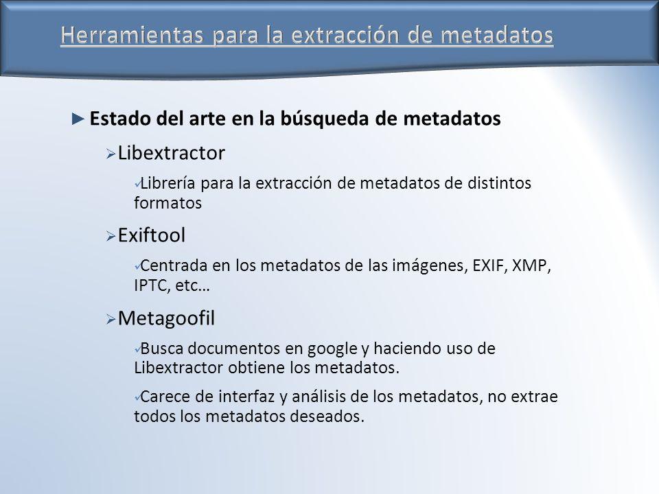 Estado del arte en la búsqueda de metadatos Libextractor Librería para la extracción de metadatos de distintos formatos Exiftool Centrada en los metadatos de las imágenes, EXIF, XMP, IPTC, etc… Metagoofil Busca documentos en google y haciendo uso de Libextractor obtiene los metadatos.