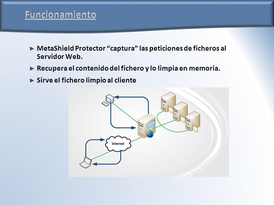 MetaShield Protector captura las peticiones de ficheros al Servidor Web. Recupera el contenido del fichero y lo limpia en memoria. Sirve el fichero li