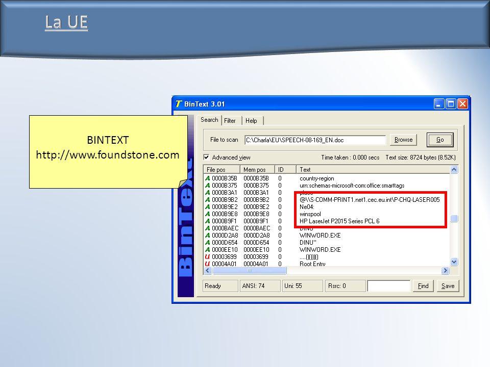 La UE BINTEXT http://www.foundstone.com