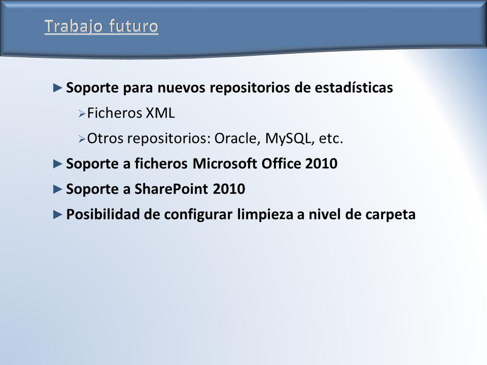 Soporte para nuevos repositorios de estadísticas Ficheros XML Otros repositorios: Oracle, MySQL, etc.