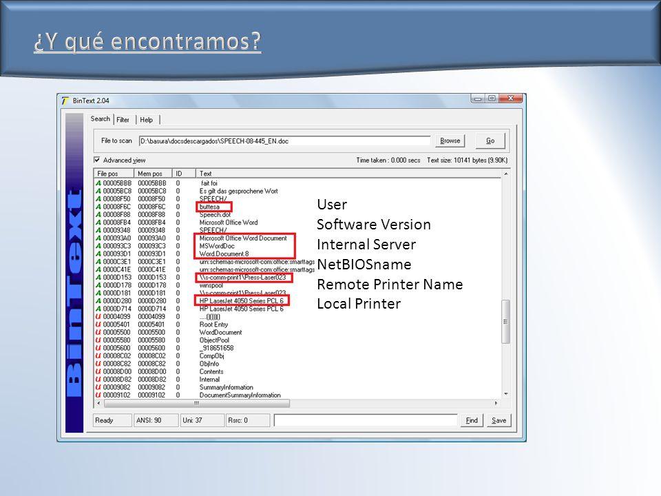 User Software Version Internal Server NetBIOSname Remote Printer Name Local Printer