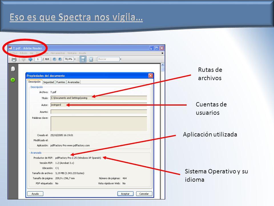 Eso es que Spectra nos vigila… Rutas de archivos Cuentas de usuarios Sistema Operativo y su idioma Aplicación utilizada