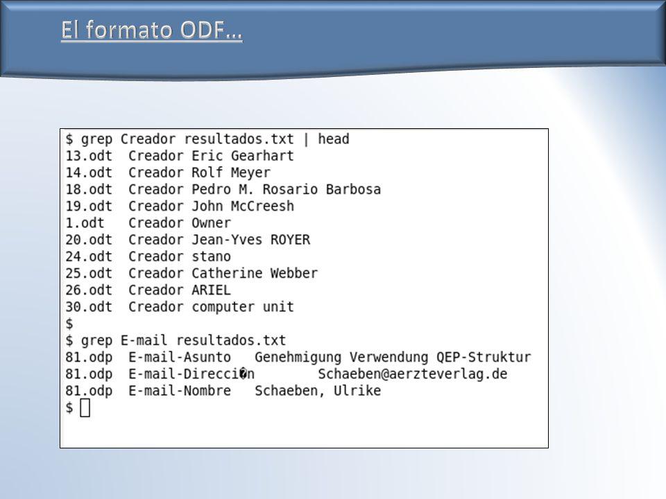 El formato ODF…