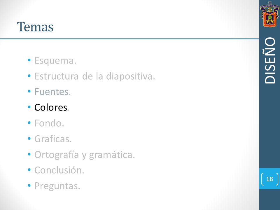 Esquema. Estructura de la diapositiva. Fuentes. Colores. Fondo. Graficas. Ortografía y gramática. Conclusión. Preguntas. 18 Temas DISEÑO