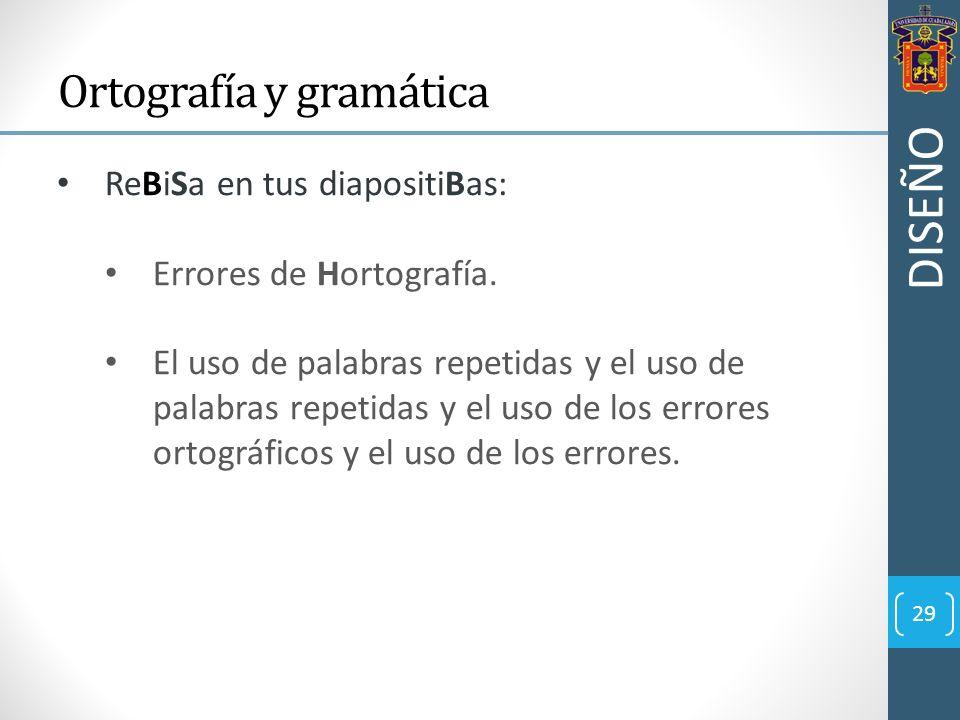 29 Ortografía y gramática ReBiSa en tus diapositiBas: Errores de Hortografía. El uso de palabras repetidas y el uso de palabras repetidas y el uso de