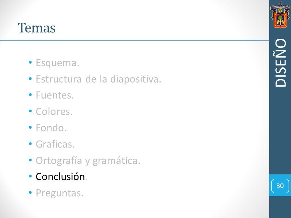 Esquema. Estructura de la diapositiva. Fuentes. Colores. Fondo. Graficas. Ortografía y gramática. Conclusión. Preguntas. 30 Temas DISEÑO