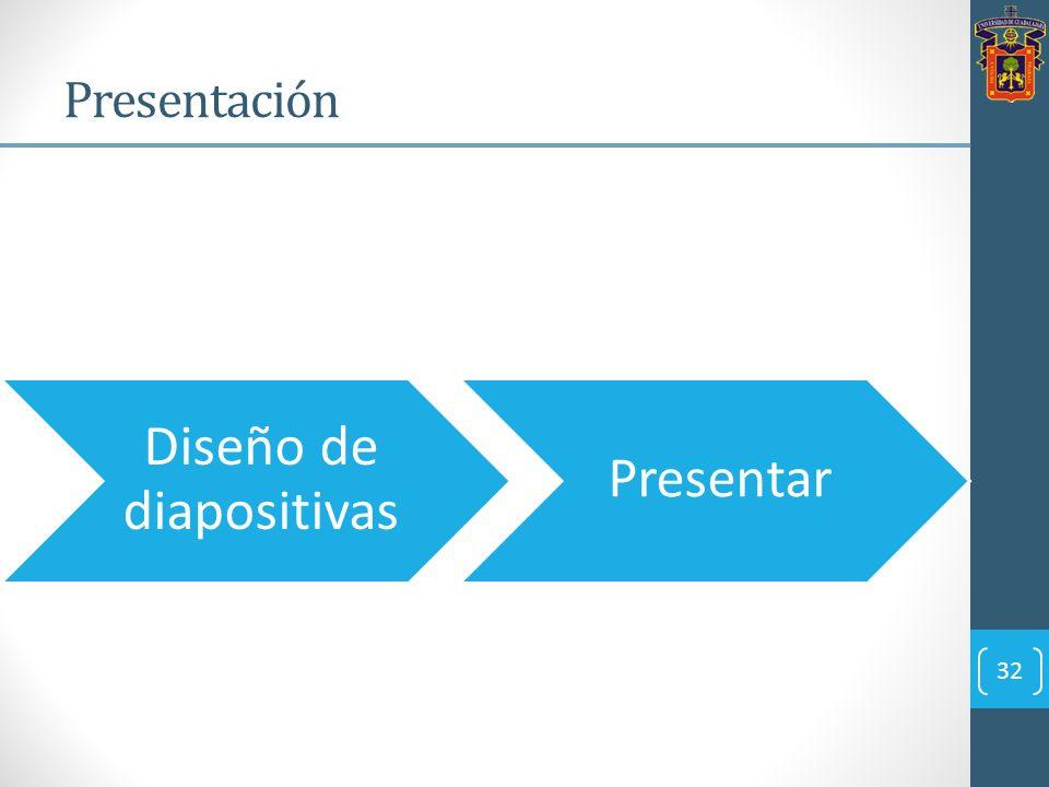 32 Presentación Diseño de diapositivas Presentar