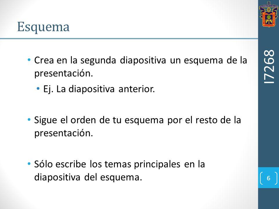 Crea en la segunda diapositiva un esquema de la presentación. Ej. La diapositiva anterior. Sigue el orden de tu esquema por el resto de la presentació