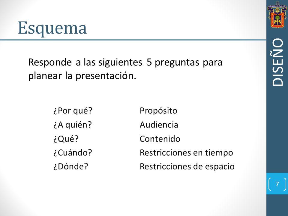 Responde a las siguientes 5 preguntas para planear la presentación. ¿Por qué? Propósito ¿A quién?Audiencia ¿Qué?Contenido ¿Cuándo?Restricciones en tie