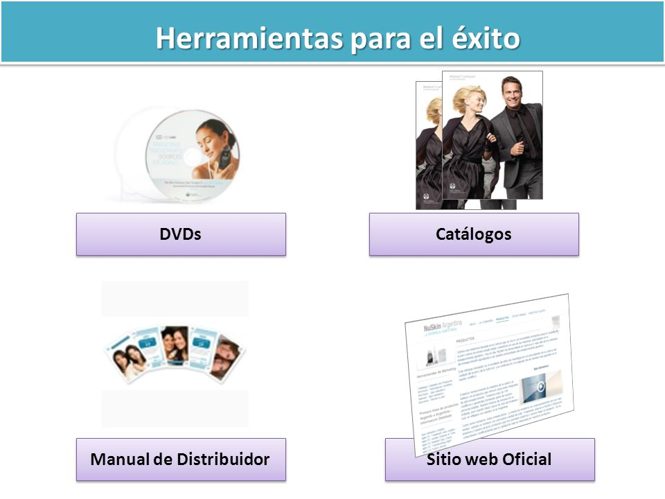 Herramientas para el éxito DVDs Catálogos Manual de Distribuidor Sitio web Oficial