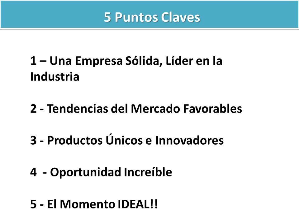 5 Puntos Claves 1 – Una Empresa Sólida, Líder en la Industria 2 - Tendencias del Mercado Favorables 3 - Productos Únicos e Innovadores 4 - Oportunidad