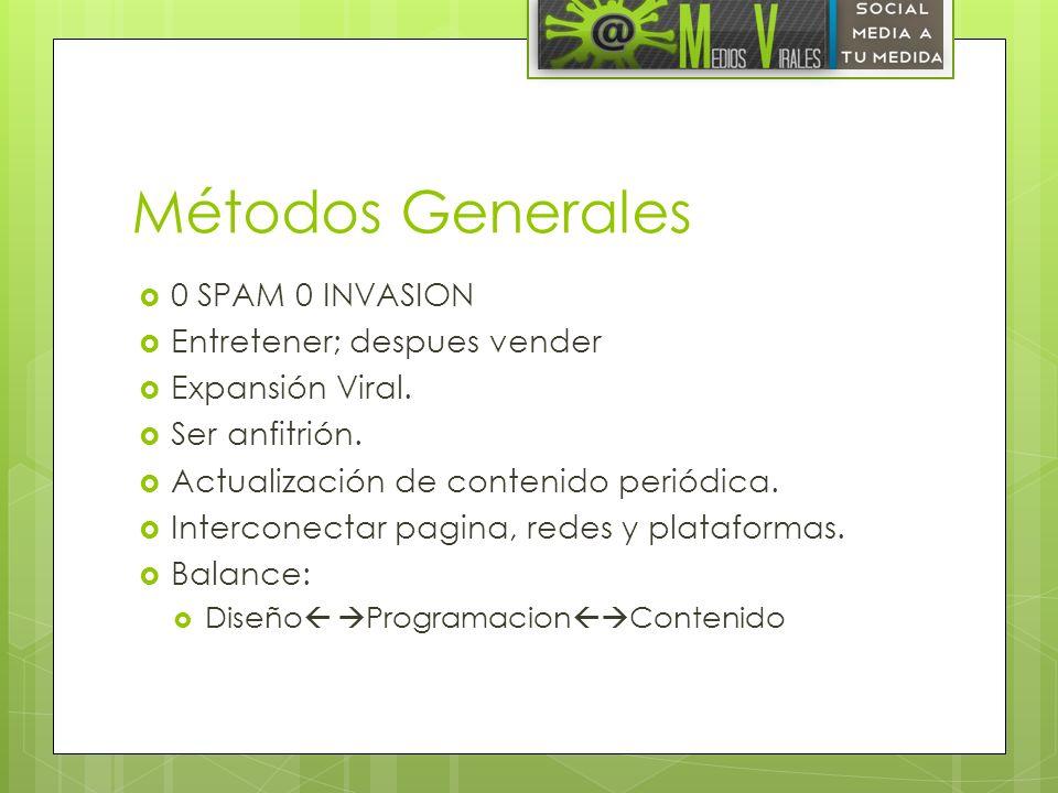 Métodos Generales 0 SPAM 0 INVASION Entretener; despues vender Expansión Viral. Ser anfitrión. Actualización de contenido periódica. Interconectar pag