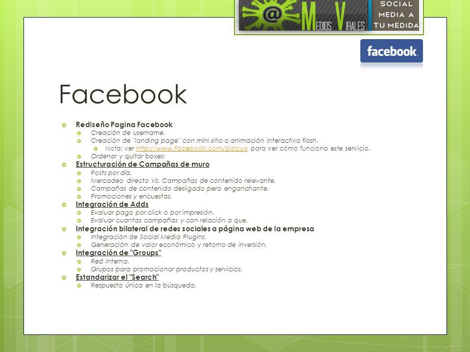 Facebook Rediseño Pagina Facebook Creación de username. Creación de
