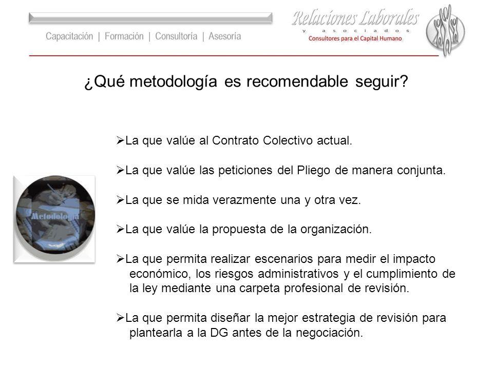 ¿Qué metodología es recomendable seguir? La que valúe al Contrato Colectivo actual. La que valúe las peticiones del Pliego de manera conjunta. La que
