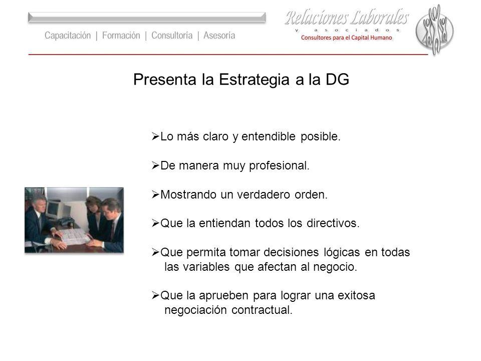 Presenta la Estrategia a la DG Lo más claro y entendible posible. De manera muy profesional. Mostrando un verdadero orden. Que la entiendan todos los