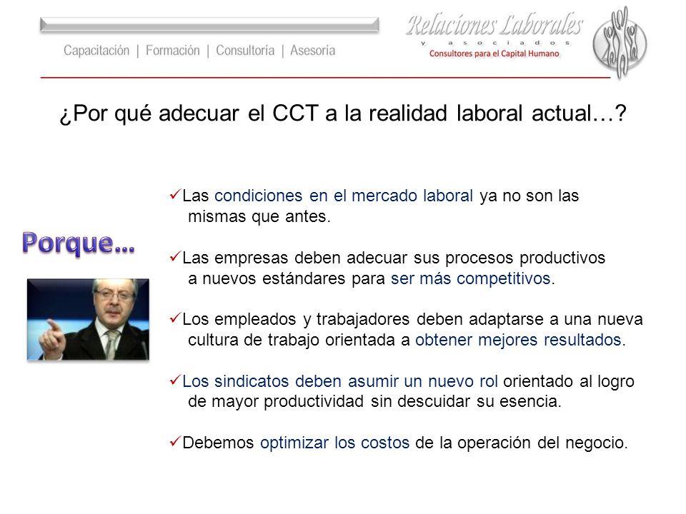 ¿Por qué adecuar el CCT a la realidad laboral actual…? Las condiciones en el mercado laboral ya no son las mismas que antes. Las empresas deben adecua