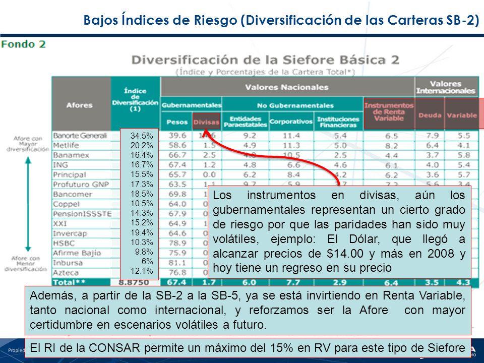 Bajos Índices de Riesgo (Diversificación de las Carteras SB-2) Además, a partir de la SB-2 a la SB-5, ya se está invirtiendo en Renta Variable, tanto