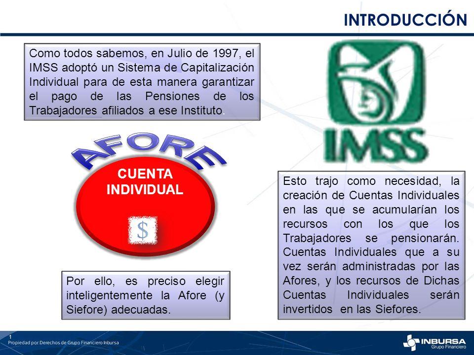INTRODUCCIÓN 1 Como todos sabemos, en Julio de 1997, el IMSS adoptó un Sistema de Capitalización Individual para de esta manera garantizar el pago de