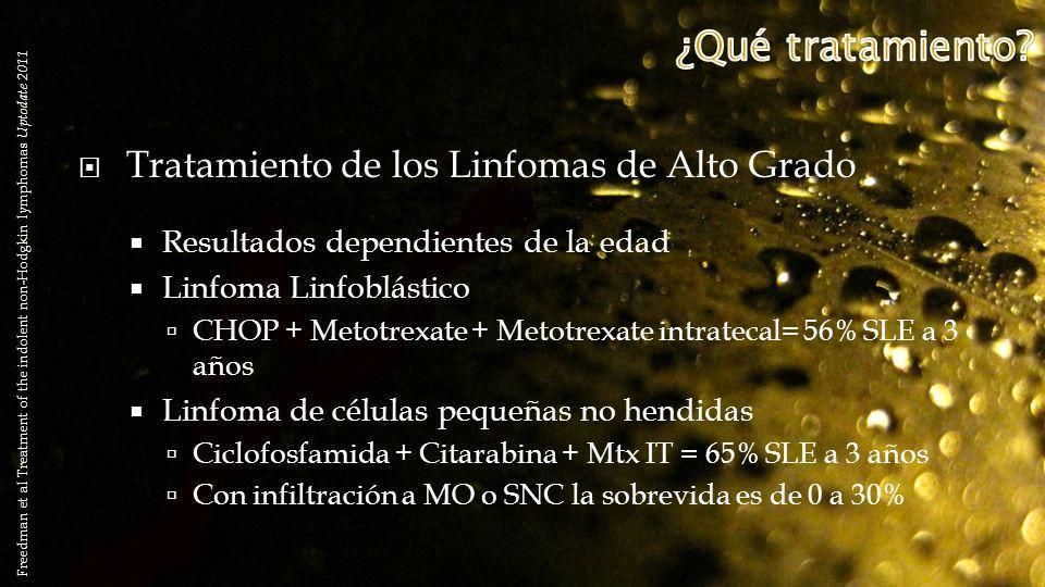 Tratamiento de los Linfomas de Alto Grado Resultados dependientes de la edad Linfoma Linfoblástico CHOP + Metotrexate + Metotrexate intratecal= 56% SL