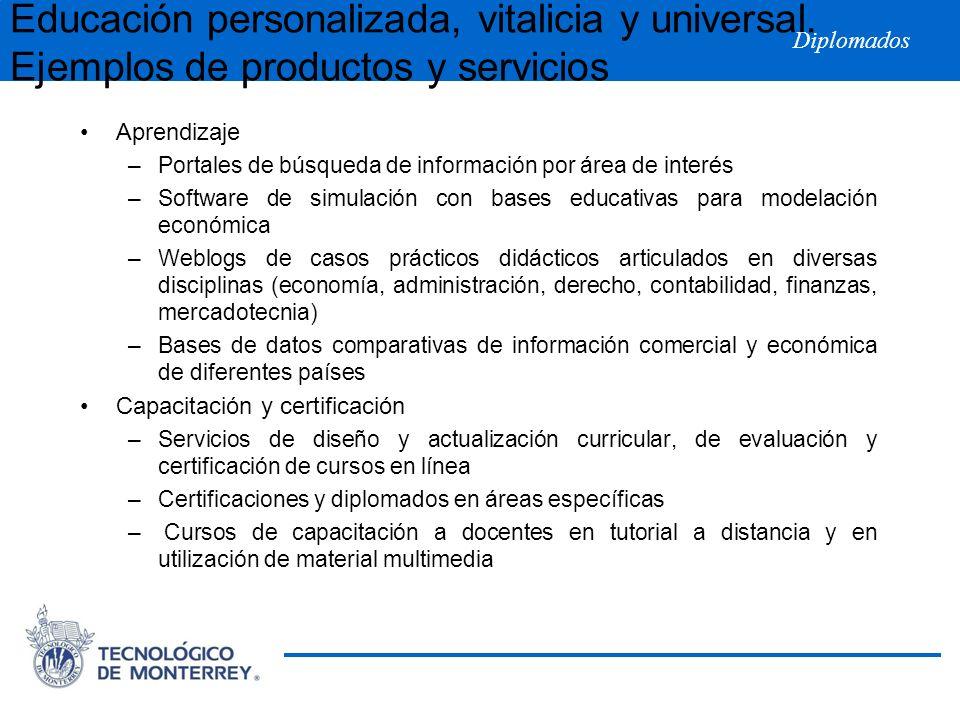 Diplomados Aprendizaje –Portales de búsqueda de información por área de interés –Software de simulación con bases educativas para modelación económica